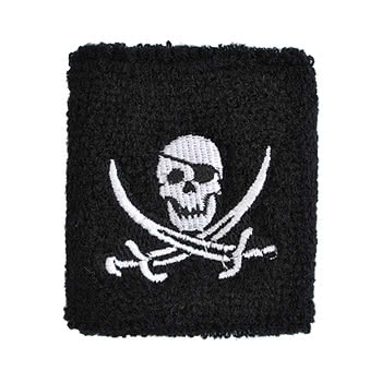 Blue Banana Skull & Cross Swords Patterned Sweatband (Black/White)