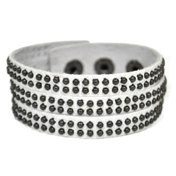 Blue Banana 3 Row Studded Leather Wristband (White)