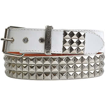 Blue Banana Classic 3 Row Studded Belt (White/Silver)