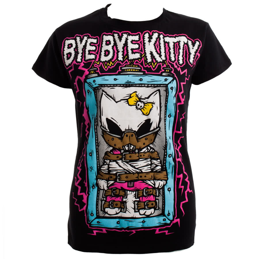 Bye Bye Kitty by Poizen Industries Shocker Skinny Fit T Shirt (Black)