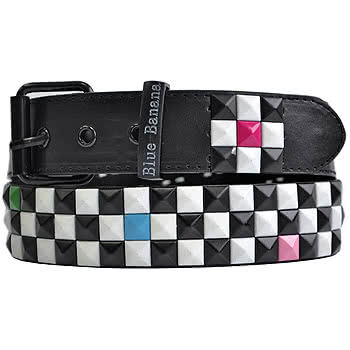 Blue Banana Coloured Checker 3 Row Studded Belt (Black/White)