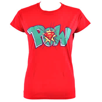DC Comics Superman Pow Skinny Fit T Shirt (Red)