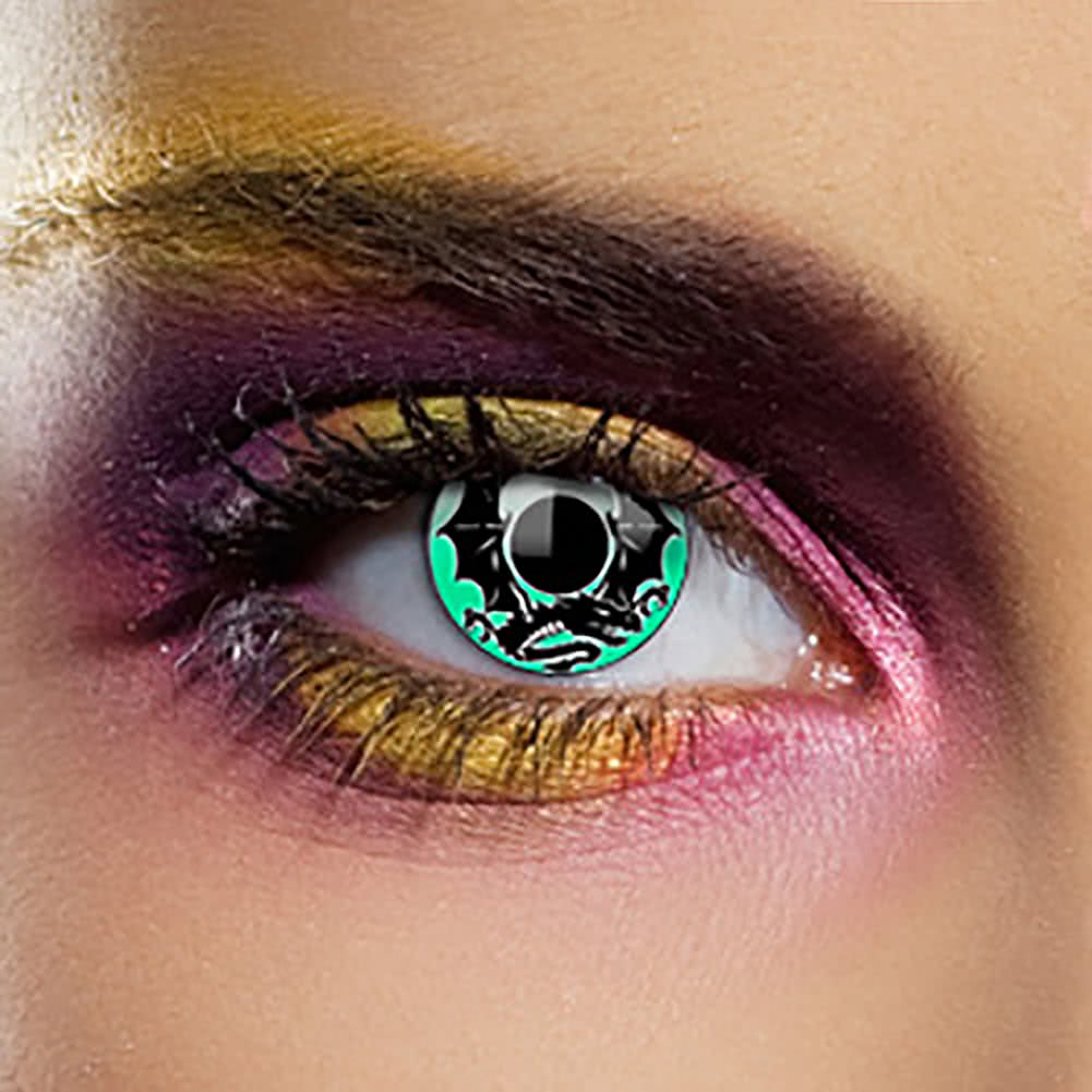 EDIT 1 Year Emerald Dragon Coloured Contact Lenses (Black/Green)