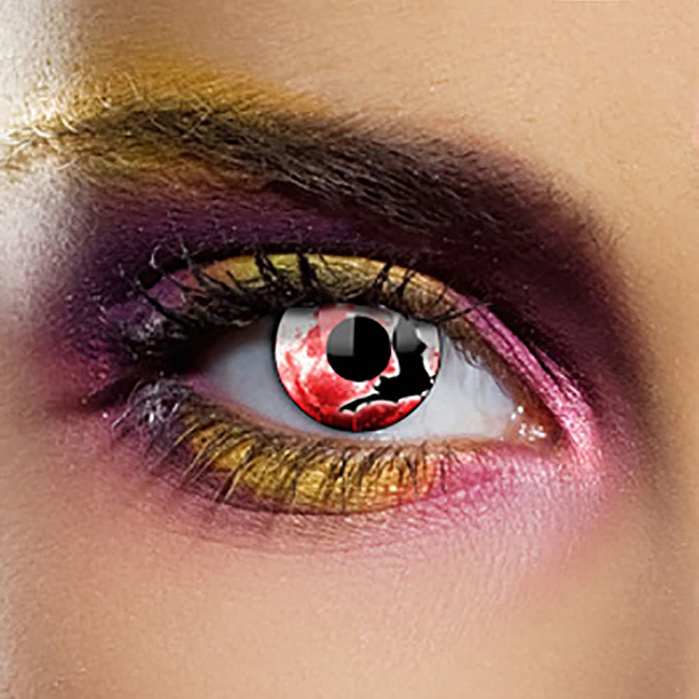 EDIT 1 Year Bat Coloured Contact Lenses (Black/Red)