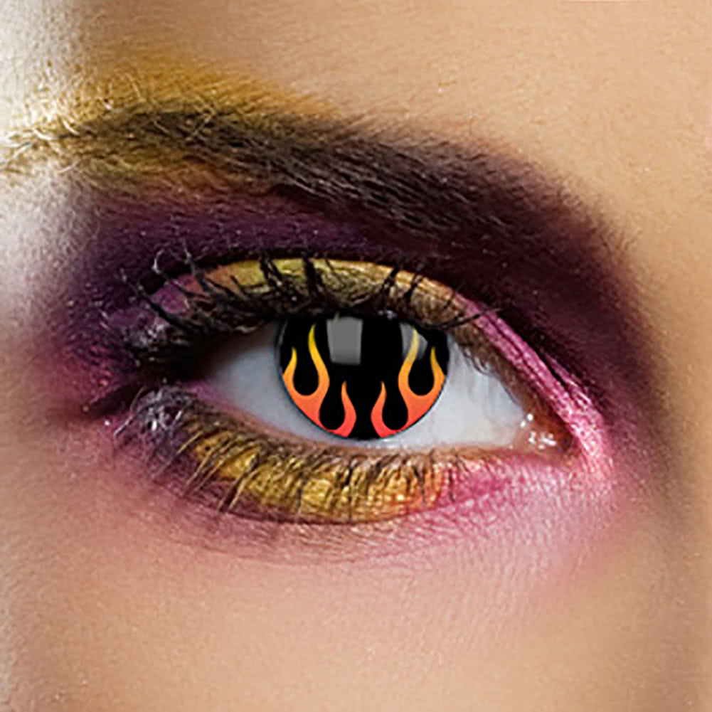EDIT 1 Year Hells Flame Coloured Contact Lenses (Black/Orange)