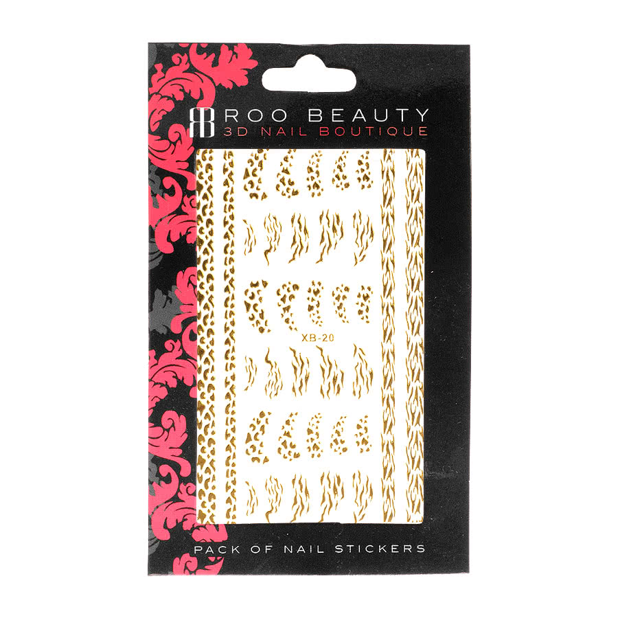 Nail Art Sheets XB-20 Animal Print Strips (Gold)