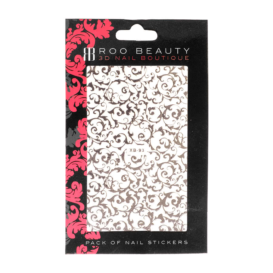 Nail Art Sheets XB-93 Fine Filigree (Silver)