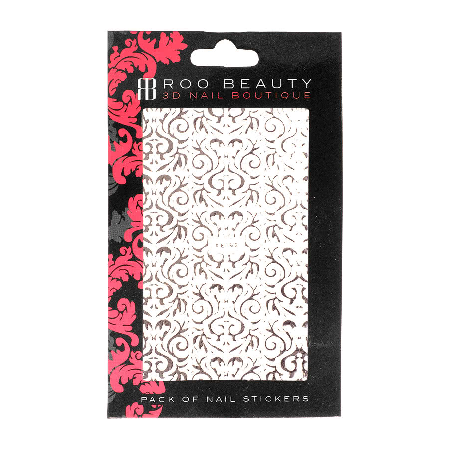 Nail Art Sheets XB-92 Bold Filigree (Silver)