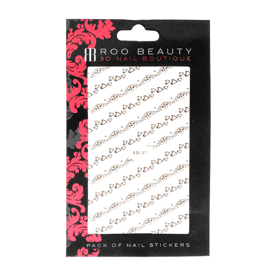Nail Art Sheets XB-37 Small Heart Strip (Silver)
