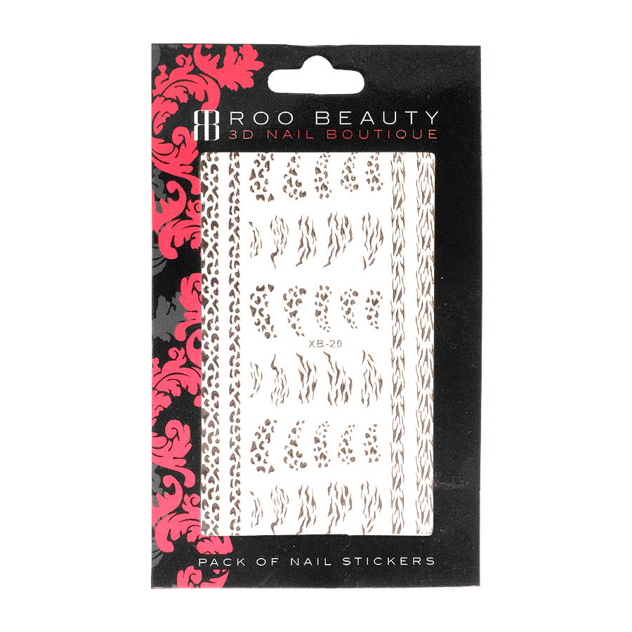 Nail Art Sheets XB-20 Animal Print Strip (Silver)