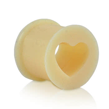 Blue Banana Silicone Heart Flesh Tunnel (Flesh)