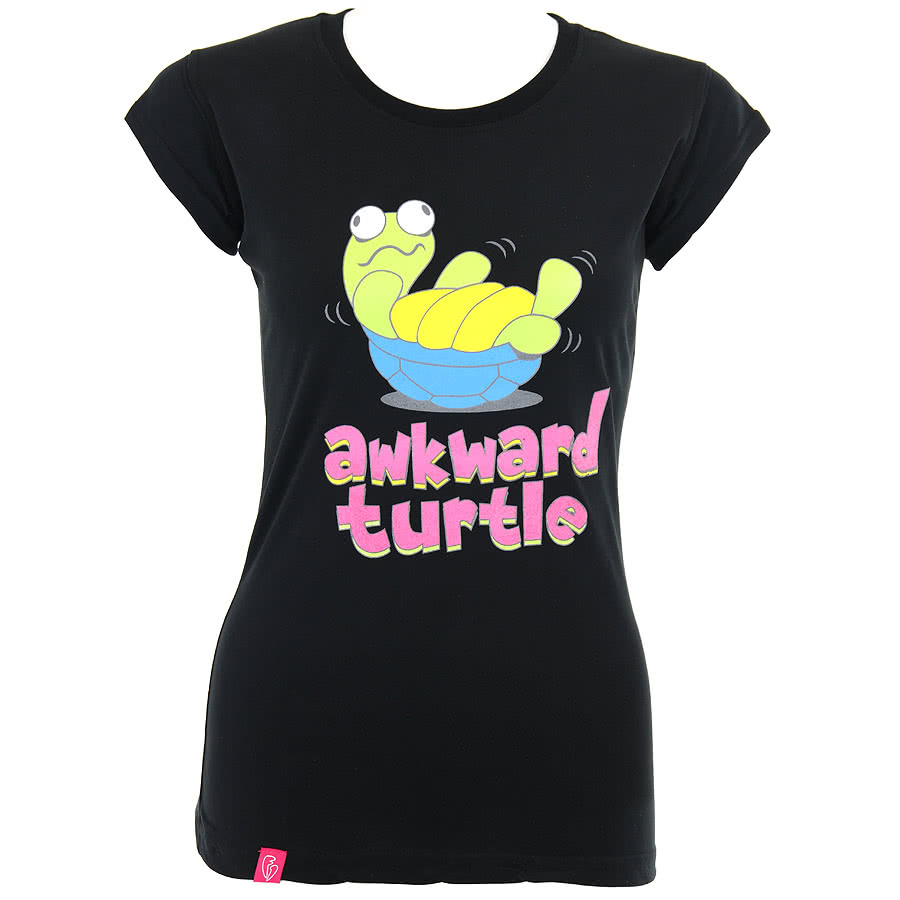 Flip Flop And Fangs Awkward Turtle Skinny Fit T Shirt (Black)