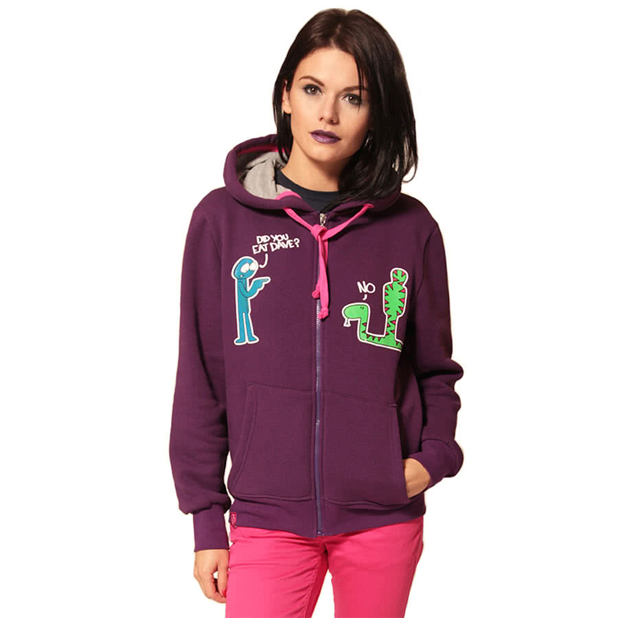 Flip Flop and Fangs Dave Skinny Fit Hoodie (Purple)