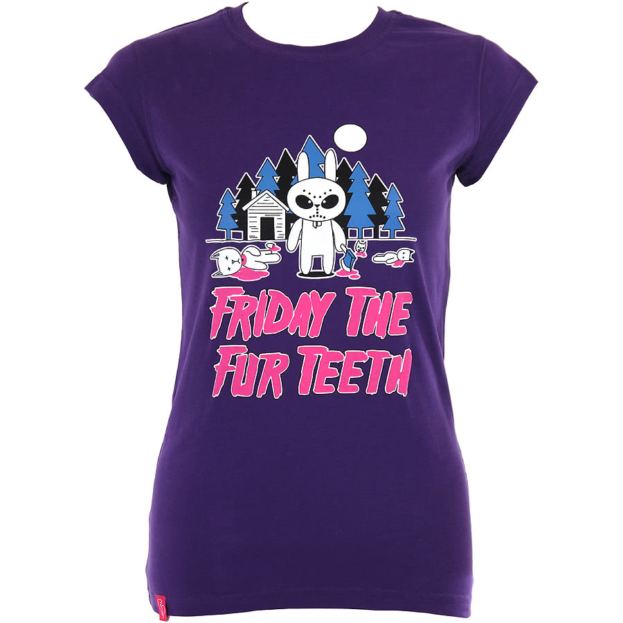 Flip Flop And Fangs Friday The Fur Teeth Skinny Fit T Shirt (Purple)