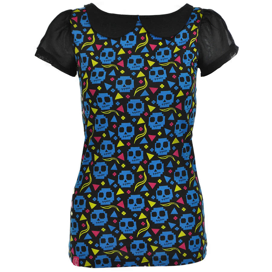 Flip Flop And Fangs Pixel Zombies Collar Top (Black/Blue)