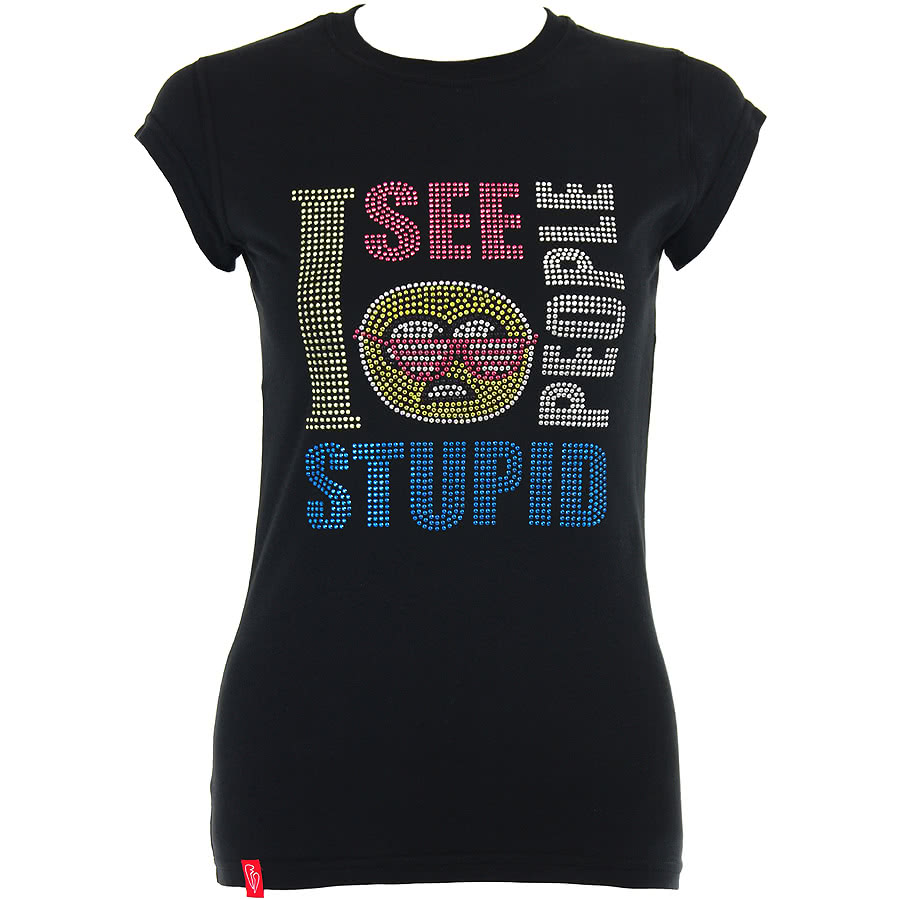 Flip Flop And Fangs Stupid People Studs Skinny Fit T Shirt (Black)