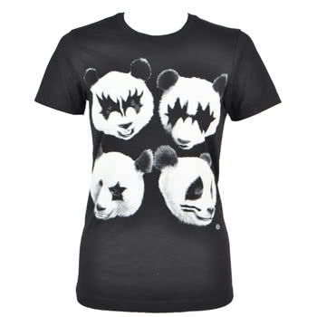 Goodie Two Sleeves Panda Rock Skinny Fit T Shirt (Black)