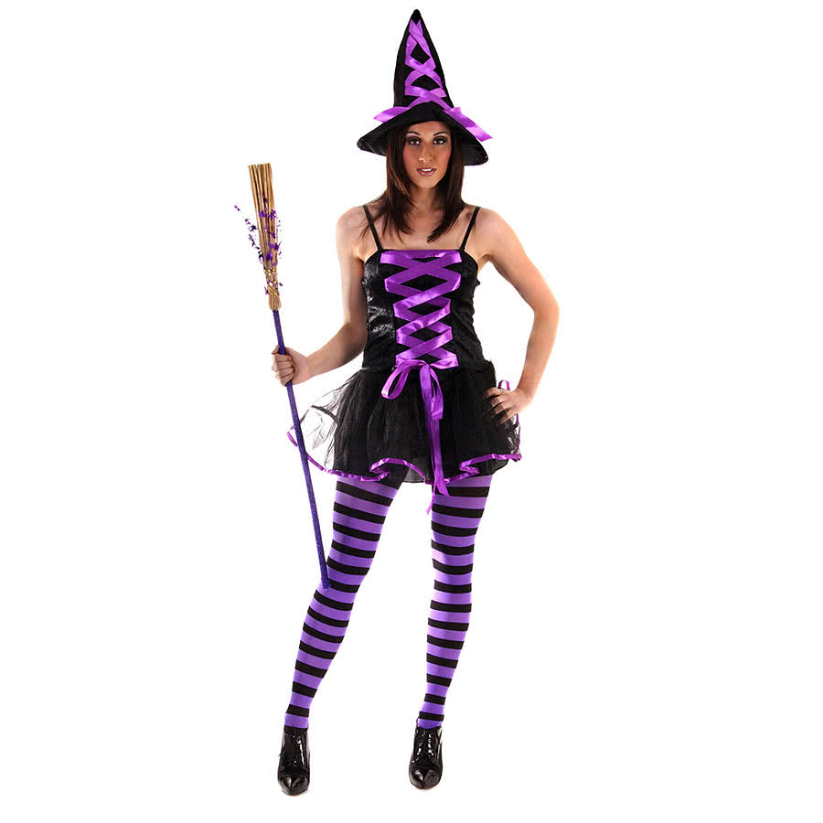 Halloween Sexy Witch Fancy Dress Costume (Purple)