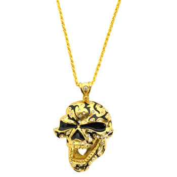 Hip Hop Skull Necklace (Gold)