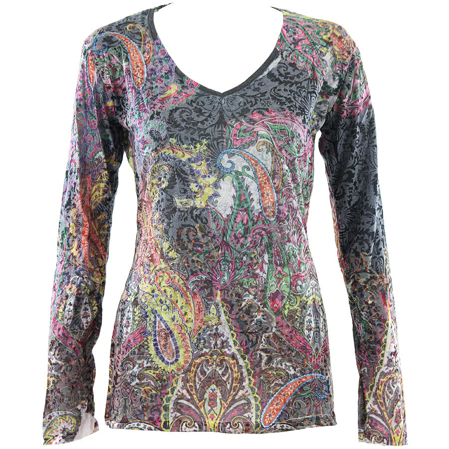 Innocent Neon Paisley Long Sleeve Top (Multi-Coloured)