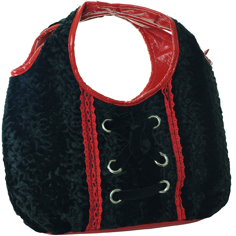 Jawbreaker Fur Handbag (Black/Red)