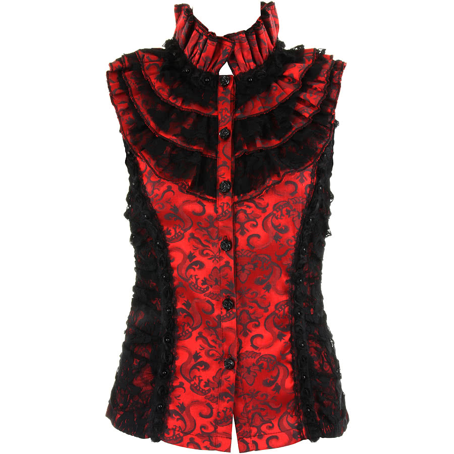 Jawbreaker Roses Lace Top (Red/Black)