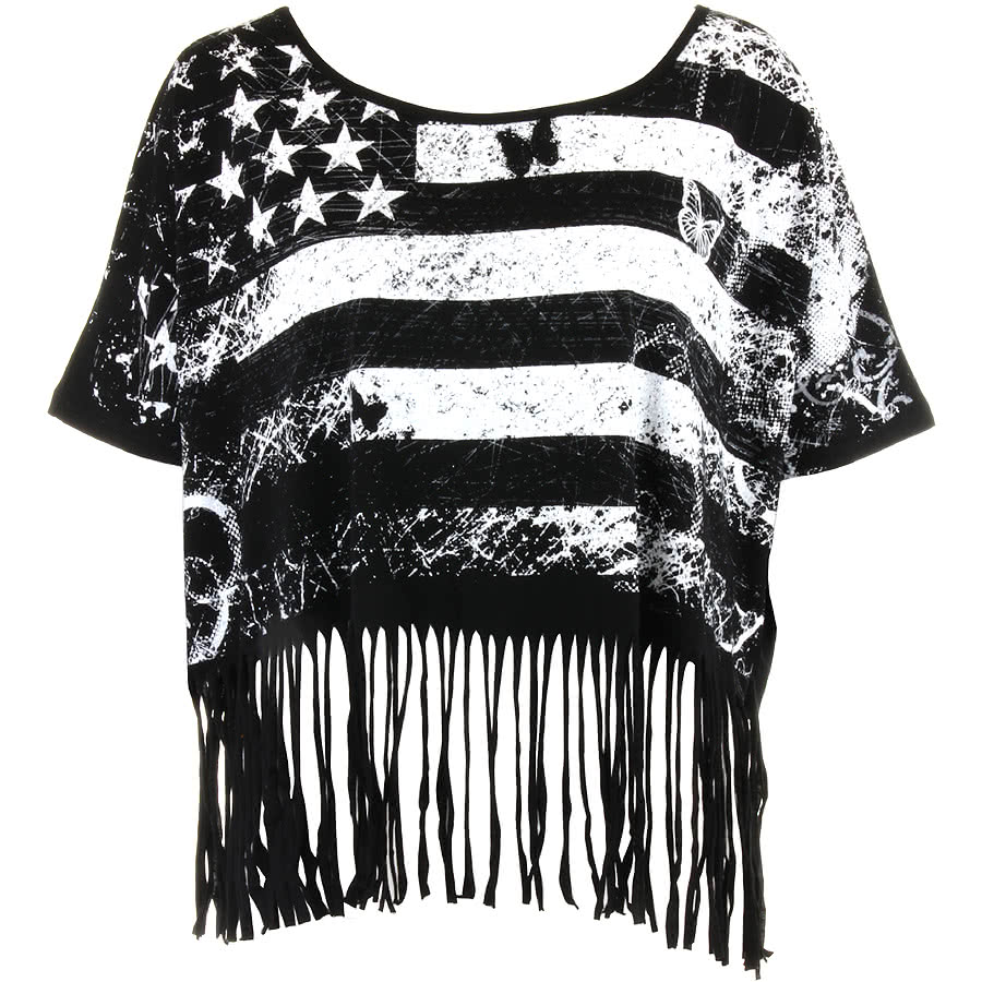 Jawbreaker USA Flag Shred Top (Black)