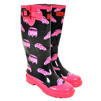 Jiglz Pink Camper Wellies (Black)