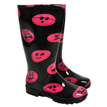 Jiglz Pink Faces Wellies (Black)