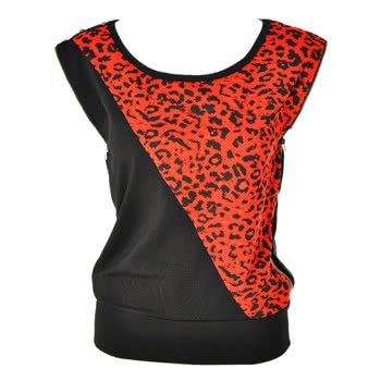 Lip Service Leopard Top With Zippers (Black/Red)