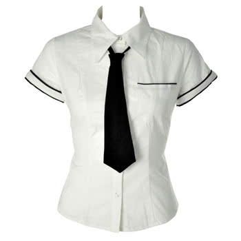 Lip Service Sexy School Girl Shirt With Black Tie (White)