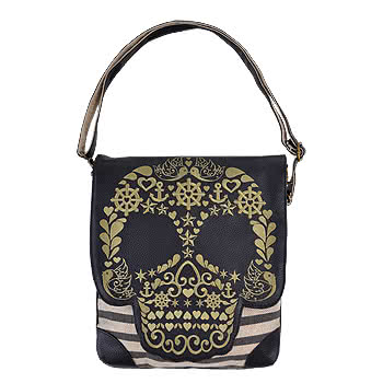 Loungefly Gold Skull Shoulder Bag