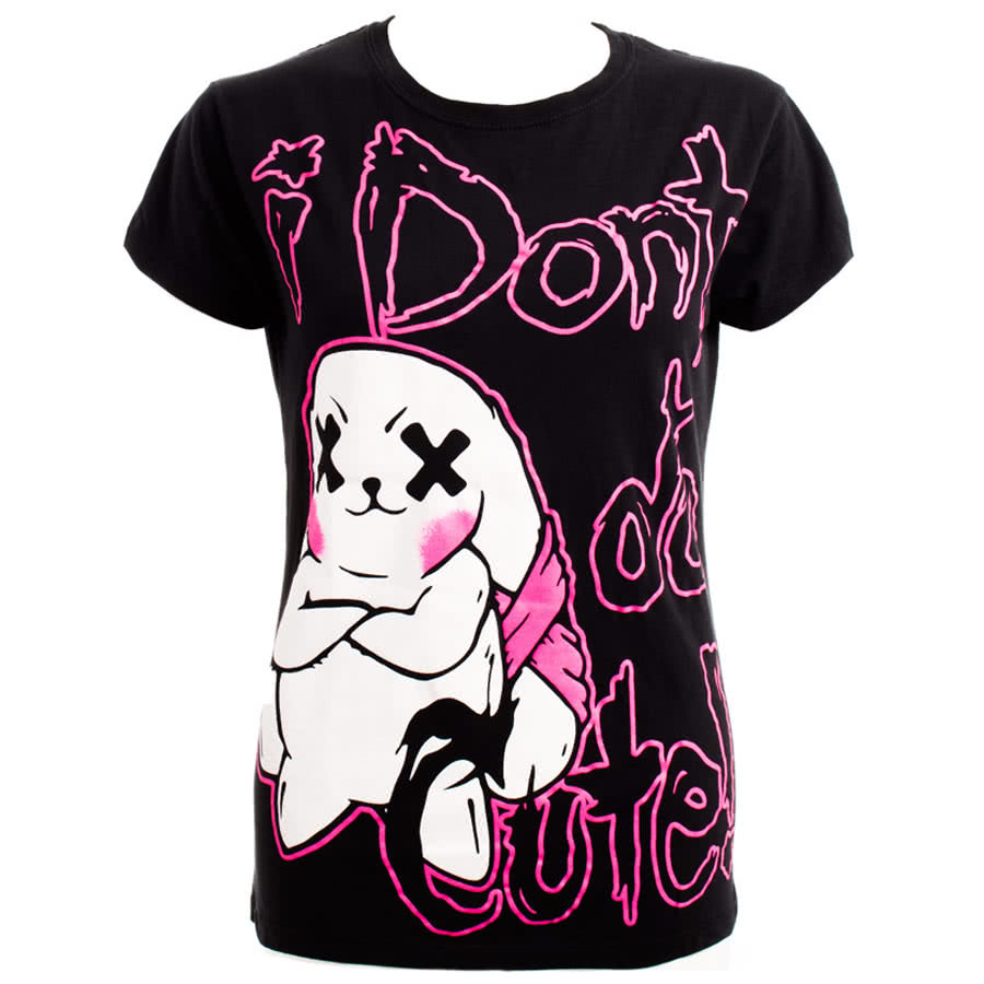 Luv Bunny by Poizen Industries Not Cute Skinny Fit T Shirt (Black)