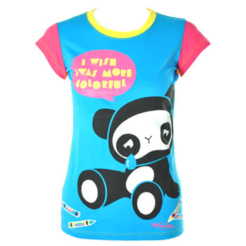 Newbreed Girl Colourful Panda Skinny Fit T Shirt