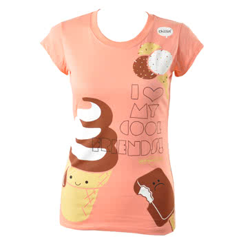 Newbreed Girl Cool Friends Skinny Fit T Shirt (Pink)