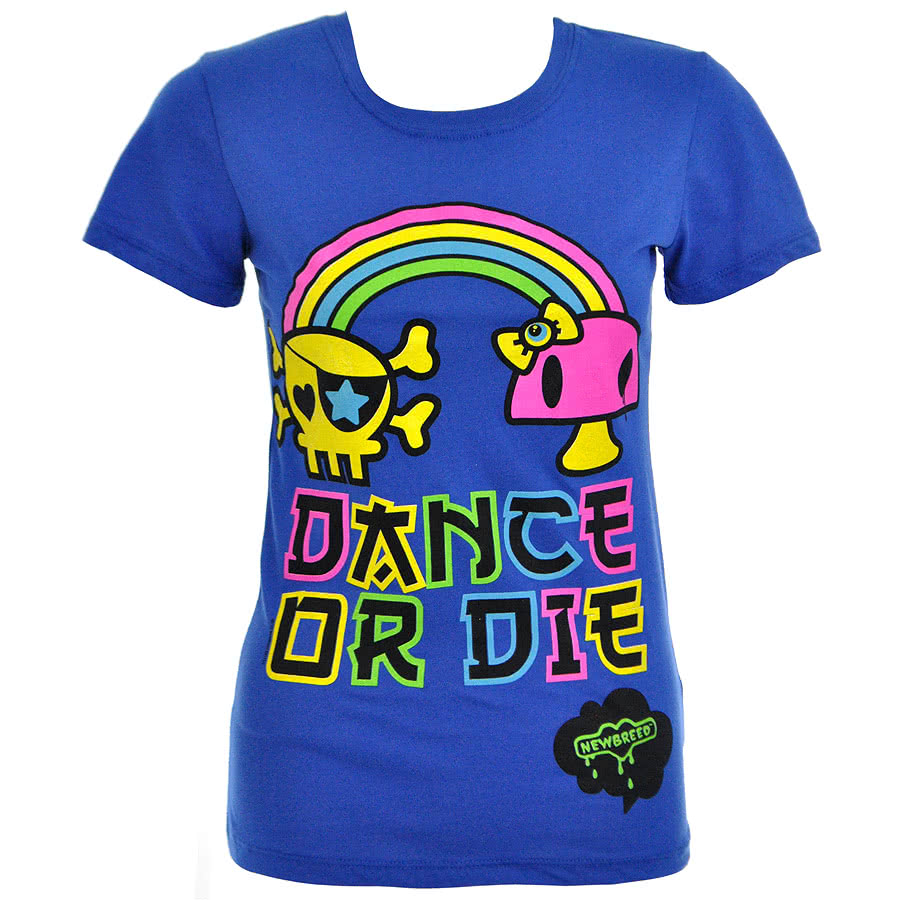 Newbreed Girl Dance Or Die Skinny Fit T Shirt (Blue)