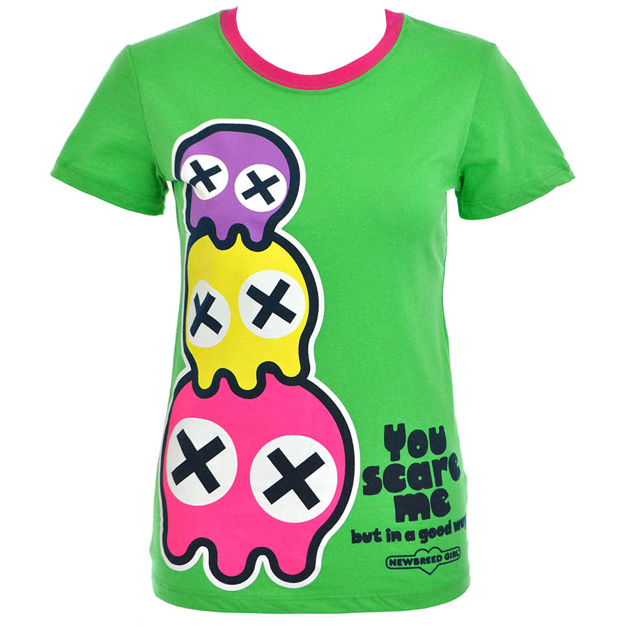 Newbreed Girl U Scare Me Skinny Fit T Shirt (Green)