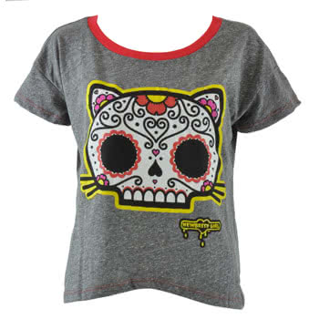 Newbreed Girl 80's Gimme Sugar Kitty Top (Grey)