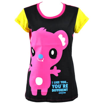 Newbreed Girl I Like You Koala Skinny Fit T Shirt (Black/Pink)