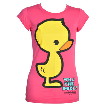 Newbreed Girl What The Duck Skinny Fit T Shirt (Pink)