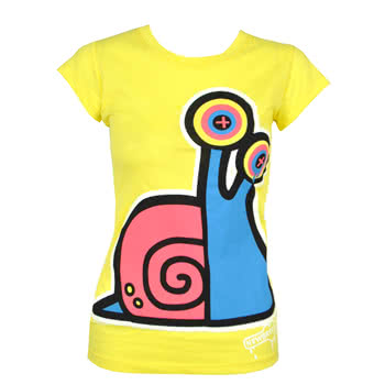 Newbreed Girl Rave Snail Skinny Fit T Shirt (Yellow)