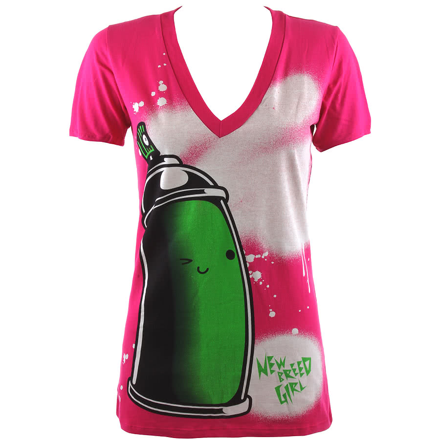 Newbreed Girl Happy Spray V-Neck T Shirt (Pink/Green)