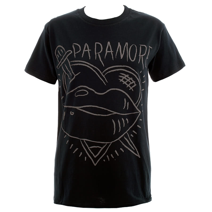 Paramore Knife Lips Skinny Fit T Shirt (Black)