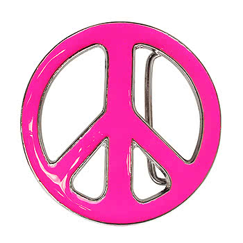 Blue Banana Peace Symbol Style Belt Buckle (Pink)
