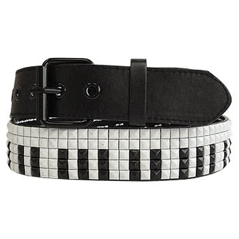 Blue Banana Piano 5 Row Studded Faux Leather Belt (Black/White)