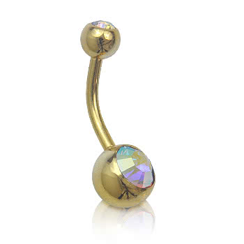 Plasma Gold Double Jewelled 1.6mm Navel Bar (AB)