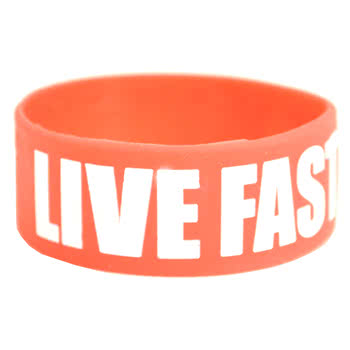 Rokk Bands Live Fast Wristband (Red)