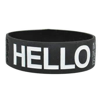 Rokk Bands Hello Wristband (Black/White)