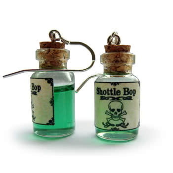 Shottle Bop Poison Bottle Earrings (Green)