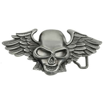 Blue Banana Skull & Wings Belt Buckle
